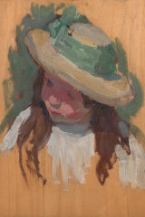 One of the works to be auctioned this Sunday by Emanuel Phillips Fox (1865-1915) is 'Head and Shoulder Study of a Girl with Yellow Hat c. 1910-12', oil on panel, 34 x 26cm.