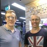 Trauma surgeon Dr Daron Cunningham (right) was exercising when Ron Gallagher had a cardiac arrest.