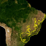 The yellow line encloses the Atlantic Forest — in Brazil, Argentina, and Uruguay — as delineated by the WWF. The Amazon rainforest is top left.