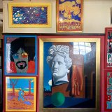 The Wirian entrance hall, like every other room, is all but covered in a exuberant amalgam of Sharp's obsessions. among them Luna Park, Van Gogh and Eternity man Arthur Stace.