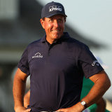 Phil Mickelson was all smiles during the Wanamaker Trophy presentation at Kiawah Island Golf Resort in South Carolina.