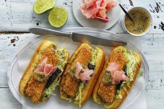 Panko & sesame crumbed fish finger rolls.