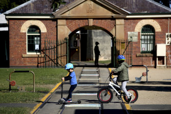 Children enjoy the fine outdoor weather on Mother's Day with some activities at Newington Armory.