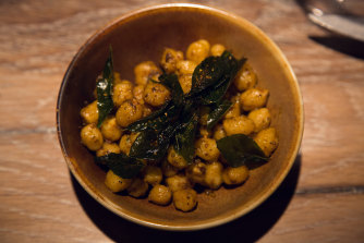 Steamed Masala chickpeas with fried curry leaves are a favourite childhood snack of chef Scully.