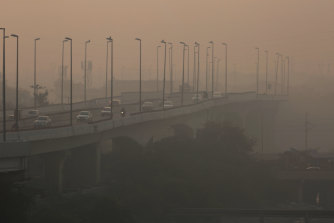 Smog envelopes Delhi last week, when  air pollution levels were at near-record levels.