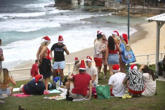 Revellers at Bronte on Christmas Day.