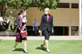 Queensland Health Minister Yvette D'Ath (left) and Chief Health Officer Jeannette Young spoke to the media on Friday.