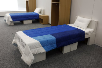 Organisers say the cardboard beds can withstand up to 200 kilograms.