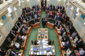 Queensland MPs voting on the Palaszczuk government's voluntary assisted dying bill at the end of its second reading debate on Thursday.