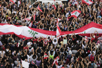 Anti-government protesters in Beirut, Lebanon on Sunday.