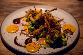 Char-Grilled Broccoli, Chinkiang Vinegar with Salted Egg Yolk at Restaurant Scully St James's.