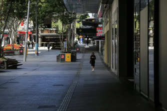 A near-deserted Queen Street Mall during the height of Brisbane's lockdown.