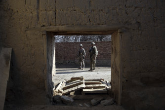 Security personnel patrol following an attack near the Bagram Air Base in Parwan province, Kabul, Afghanistan, on December 11. Bagram is the main American base north of the capital.