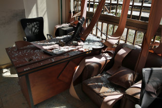 Damage is seen inside the media office of the Lebanese Hezbollah group in a southern suburb of Beirut, Lebanon.