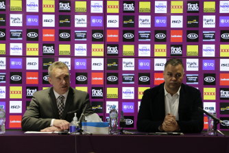 Broncos CEO Paul White and departing coach Anthony Seibold at the press conference Wednesday morning.