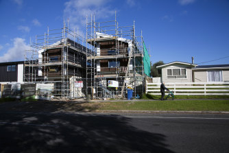 New homes under construction in Te Atatu Peninsula, a suburb of Auckland.