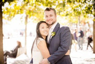 Victoria and Danny on their wedding day in October 2016.