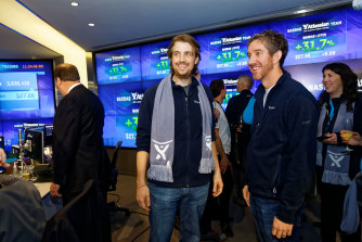 Atlassian co-founders Scott Farquhar and Mike Cannon-Brookes at the company's 2015 IPO on the Nasdaq.