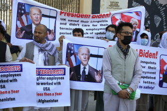 Former Afghan interpreters pleading for visas outside the US Embassy in Kabul, Afghanistan, Friday, June 25, 2021.