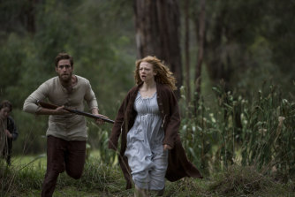 Oliver Jackson-Cohen as ex-convict Will Thornhill, and Sarah Snook as his wife, Sal, in the mini-series of The Secret River.