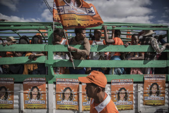 Supporters of President Andry Rajoelina of Madagascar gather before legislative elections in  Antananarivo, Madagascar, in late May 2019.