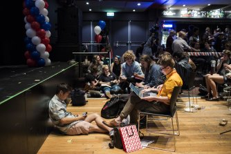 Students at a US election party at Manning Bar in 2016.