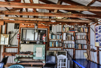 The interior of a bush shack at Little Garie in the Royal National Park.