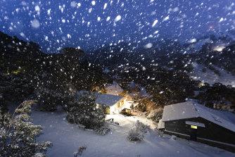 Snow falling in Thredbo on Saturday night.