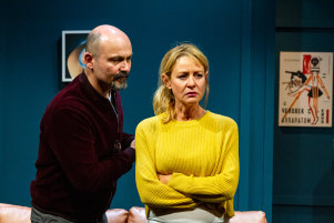 Bastoni and Sarah Sutherland in American Ulster at Red Stitch.