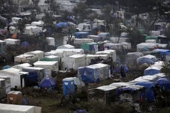 A makeshift camp for refugees and migrants next to the Moria migrant centre on the Greek island of Lesbos.