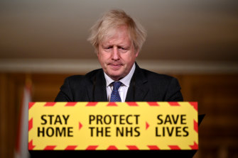 UK Prime Minister Boris Johnson during Friday evening's Downing Street press conference.