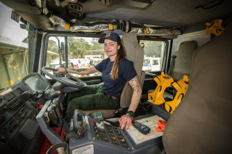 US firefighter Justine Gude is ready to drive on the left.