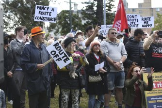 Local residents attend a rally in Randwick to oppose plans by the state government to cut bus routes.