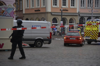 Police have blocked off a square in Trier after a car drove into pedestrians.