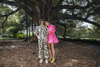 Models in Aje's resort 2021 collection, which has themes of bold 1960s' prints and shapes.