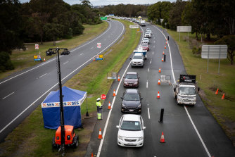 Traffic cues on the Gold Coast Highway as the Queensland border re-opened to NSW on July 10.