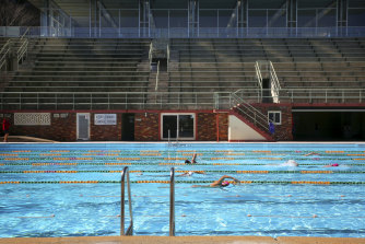 Swimmers at North Sydney Pool in September.