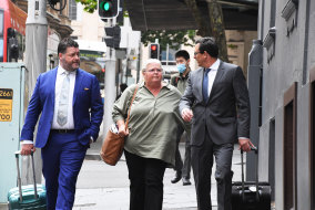 Debbie Prest arrives at the Racing NSW offices on Monday.