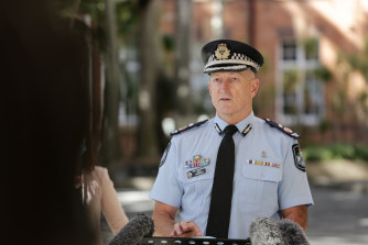Queensland Police Deputy Commissioner Steve Gollschewski during an earlier COVID-19 update at Queensland Parliament on Monday.