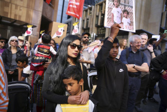 Supporters of the family during a rally at Martin Place, Sydney, in 2019.