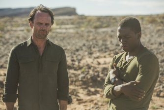 Walton Goggins, left, as Nathan Miller and David Jonsson as Isaac Turner in Deep State season 2.