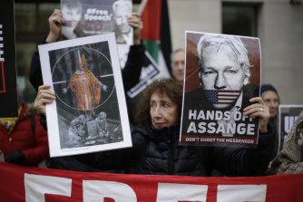 Supporters of WikiLeaks founder Julian Assange outside his Westminster Magistrates Court trial in London.