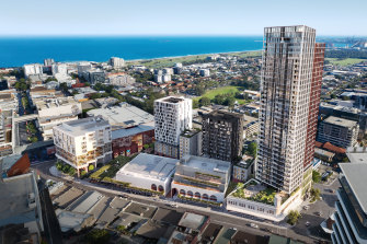 An artist's impression, commissioned by BVN Architecture, of the new $400m WIN Grand development in Wollongong.