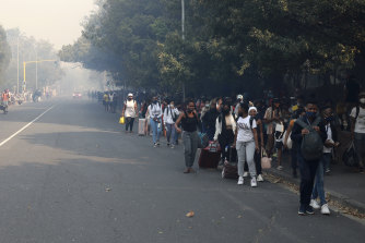 Students are evacuated from their residence at the University of Cape Town.
