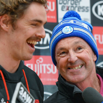 Joe and Neale Daniher share a laugh in 2018.