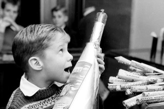 Greg James buys fireworks at David Jones in Sydney on 20 May 1959.