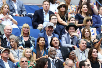 Laver (at left) in the crowd at the US Open men's singles final in 2016, among celebrities including actor Kevin Spacey and US Vogue head Anna Wintour.