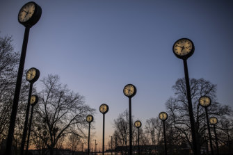 A clock art installation in Düsseldorf. Germany and Austria led the way with daylight saving as a wartime measure.