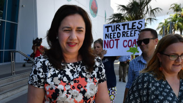 Anti-coal protesters dogged Premier Annastacia Palaszczuk in Cairns on Wednesday.