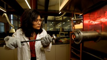Professor Veena Sahajwalla works at one of the UNSW micro-factories.